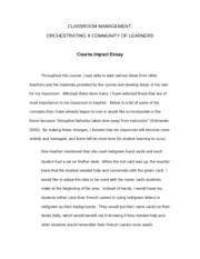 Classroom Management Course Impact Essay