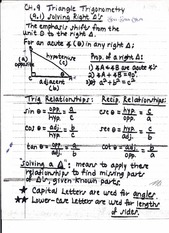 Chapter 9 Triangle Trigonometry Notes