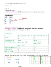 2.6 Graphs of Tangent and Cotangent Functions Practice