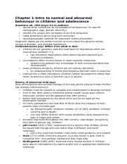 Chapter 1-Intro to normal and abnormal behaviour in children and adolescence .docx