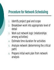 Procedure for Network Scheduling (Tung)