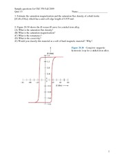 Quiz 13 potential problems ChE 350 F09