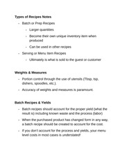 Types of Recipes Notes