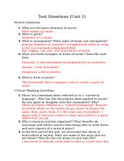 Text Questions (Unit 1)
