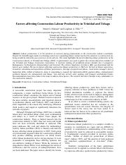 Journal - Factors affecting Construction Labour Productivity in Trinidad and Tobago.pdf