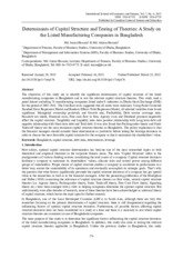Determinants of Capital Structure and Testing of Theories A Study on the Listed Manufacturing Compan