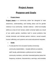 Project aware purpose and goals