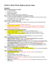 Public Health 60 Environmental Quality and Health - Midterm Review Sheet