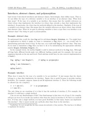 COMP 250 Interfaces, Abstract Classes, Polymorphism Notes
