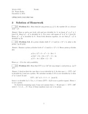 Homework A Solutions on Number Theory