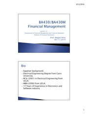 ntroduction to Financial Management and Financial Statement Analysis of Financial Statements