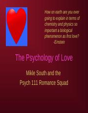 Psych 111 Supplement- Psychology of Love.ppt