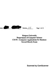 Computer Applications for Business Exam 2