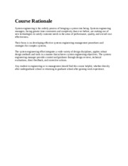 Course Rationale