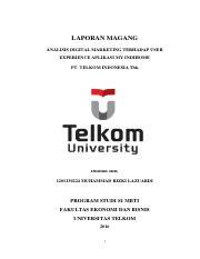 Laporan Magang Rizki Lazuardi 1201130224 Pdf Laporan Magang Analisis Digital Marketing Terhadap User Experience Aplikasi My Indihome Pt Telkom Course Hero