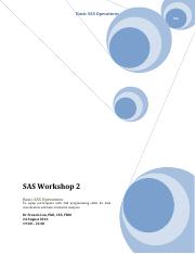 SAS Workshop 2 - Basic SAS Operations (2016-08-24)