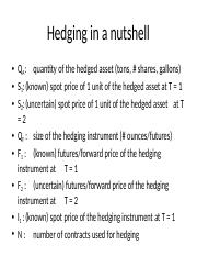 Hedging in a nutshell