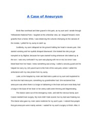 The Case of Aneurysm
