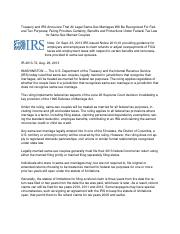 Same sex marriage IRS Guidance