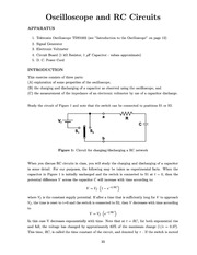 Physics 20801 Lab Instructions on Oscillopes and RC Circuits