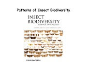 Lecture 20 - Patterns of Insect Biodiversity