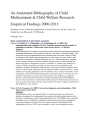Annotated Bibliography of Child Welfare Research with Systemic Implications