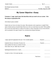 13 Workplace -- My Career Objective (essay with rubric)