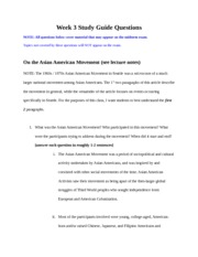 Asain American Movement Study Questions