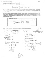 Section 5.3 Evaluating Definite Integrals Notes