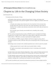 Chapter 24: Life in the Changing Urban Society - AP European History Chapter Outlines - Study Notes.