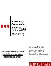 ACC 200 ABC Case Slides - MOODLE Revised F16