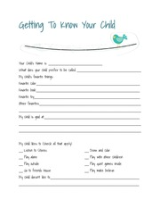 getting to know your child worksheet