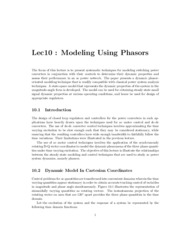 Lec10-DynamicModelingWithPhasors