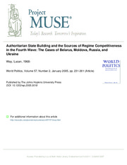 Lucan_Authoritarian State Building and the Sources of Regime Competitiveness