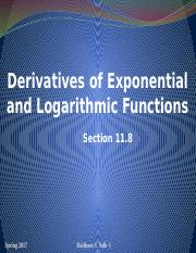 Derivatives of Exponential and Logarithmic Functions Section 11.8 (1)