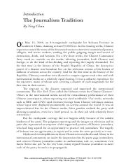 Introduction - The Journalism Tradition