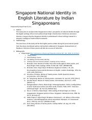 Singapore National Identity in English Literature by Indian Singaporeans