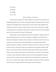 Heart of Darkness in class essay