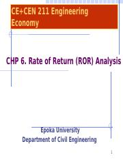 Chapter 6- Rate of Return Analysis