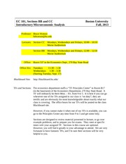 Ec 101 BB and CC Syllabus for Fall, 2013