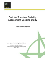 On-Line Transient Stability Assessment Scoping Study