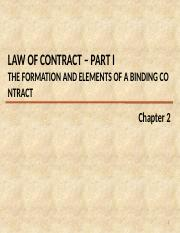 CH 2 V2 - Law of Contract (part 1 THE ELEMENTS OF A BINDING CONTRACT)
