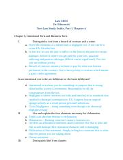 Law 3800, Tort Law Study Guide, Part I F13.docx
