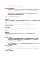 Notes Organizational Behavior Management