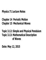Topic312 [Simple and Physical Pendulum]