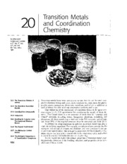 Chapter 20 - Transition Metals and Coordination Chemistry
