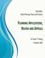 Planning Applications Reviews and Appeals - Oct 2016