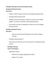 Strategic Planning Tools and Techniques Notes