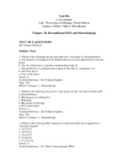 Ch18 Test File-Recombinant DNA and Biotechnology