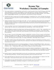 Resume Tips, Worksheet, Checklist, and Examples